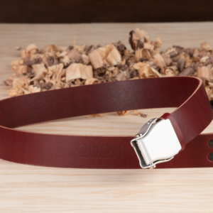 Handcrafted Deep Red Leather Belt - The Phoenix - Orion Belt Company